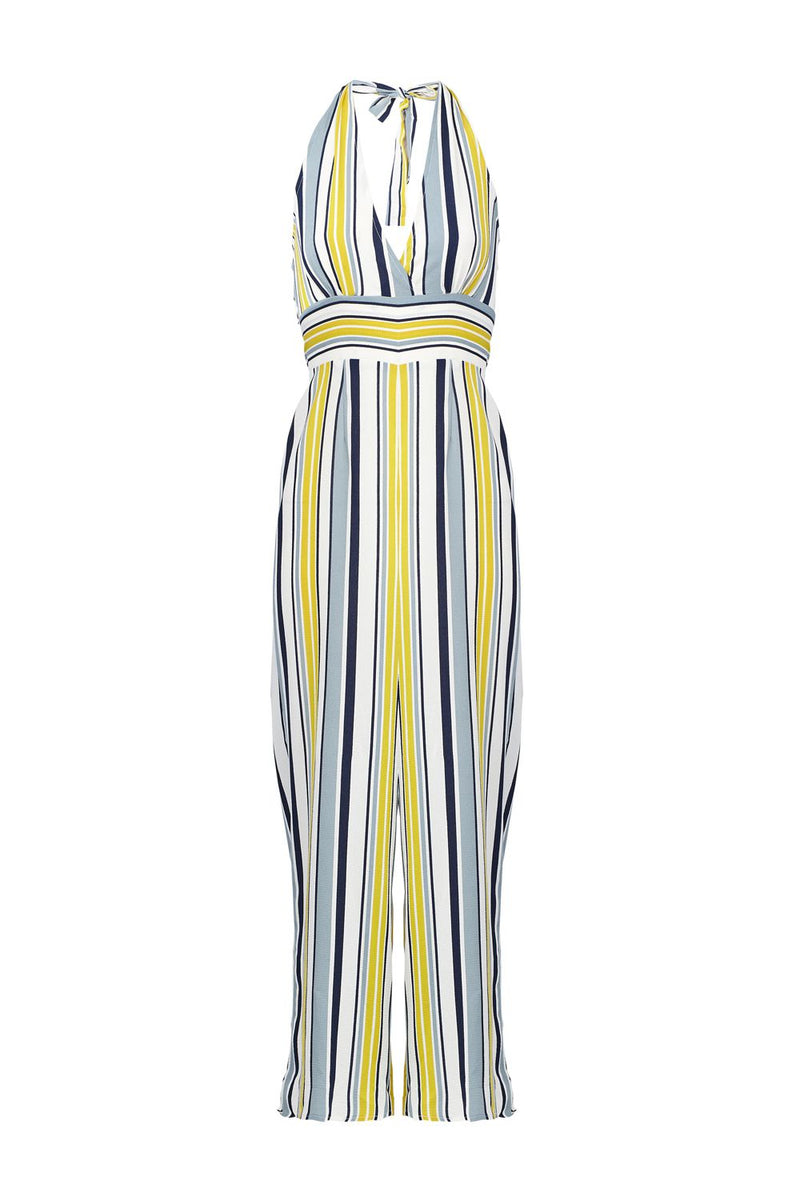 Yellow | Striped Halterneck Jumpsuit