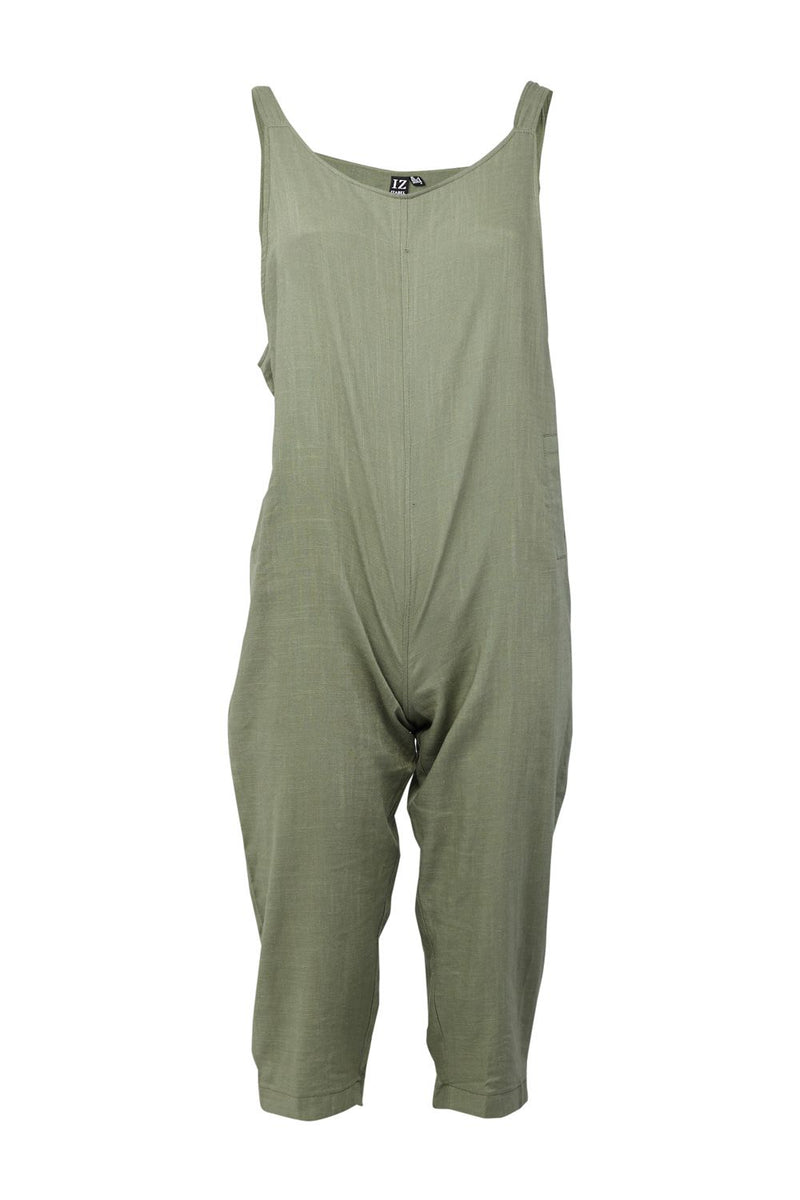 Green | Tie Shoulder Dungaree Jumpsuit