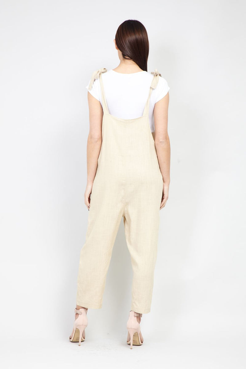 Beige | Tie Shoulder Dungaree Jumpsuit