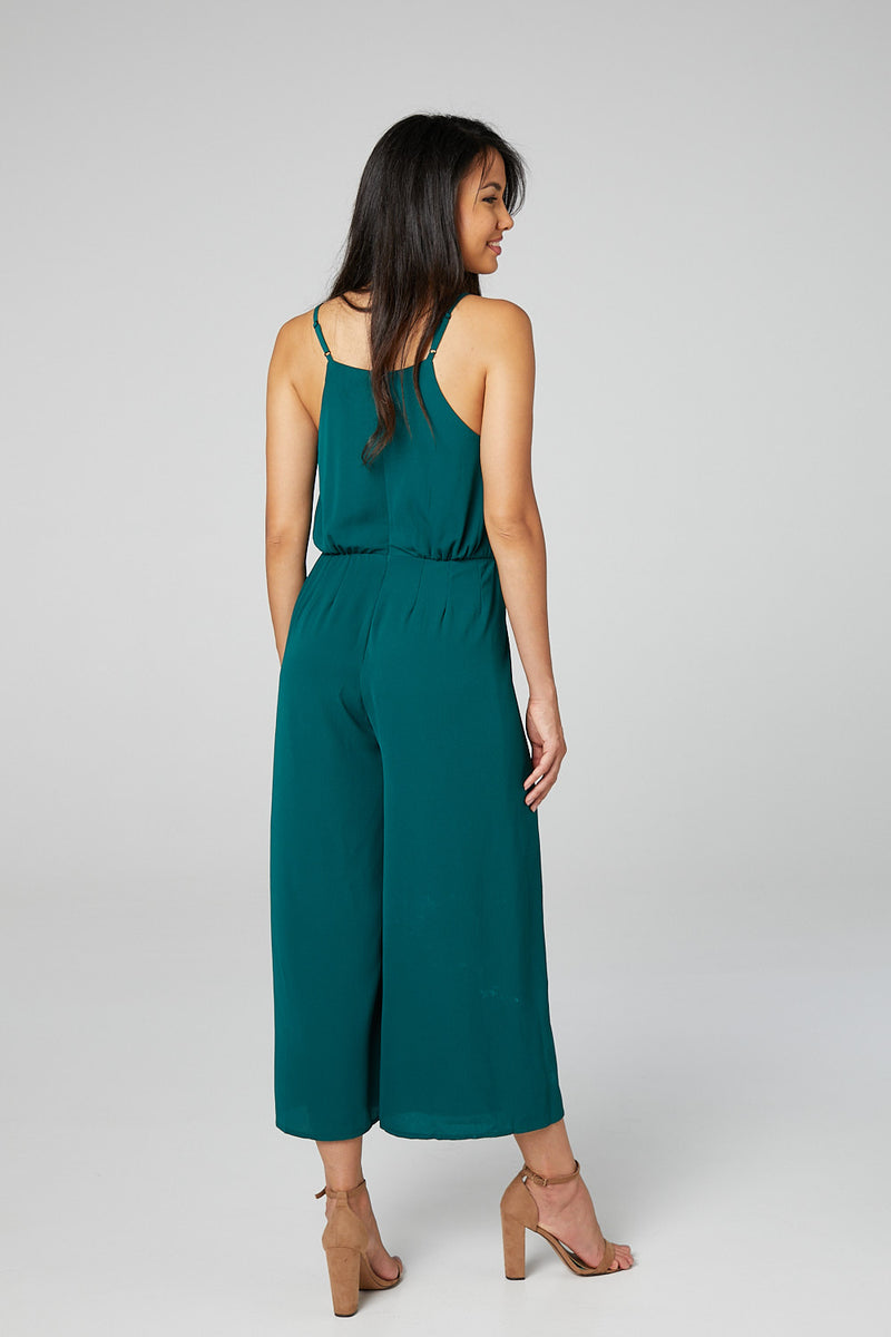 Dark Green | Wide Leg Cami Jumpsuit