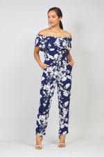 Floral Bardot Jumpsuit - Izabel London