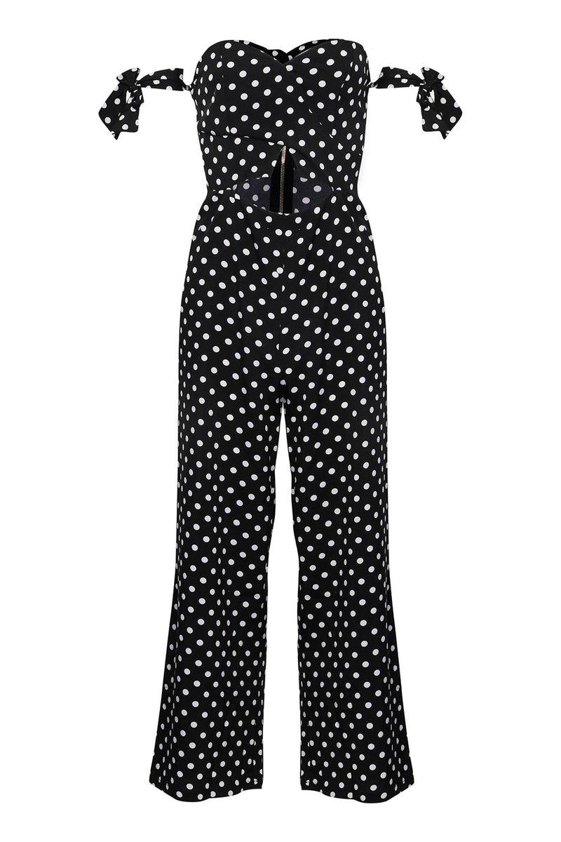 Black | Polka Dot Cut Out Jumpsuit