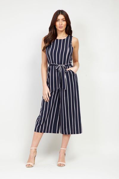 Striped Culotte Jumpsuit - Izabel London