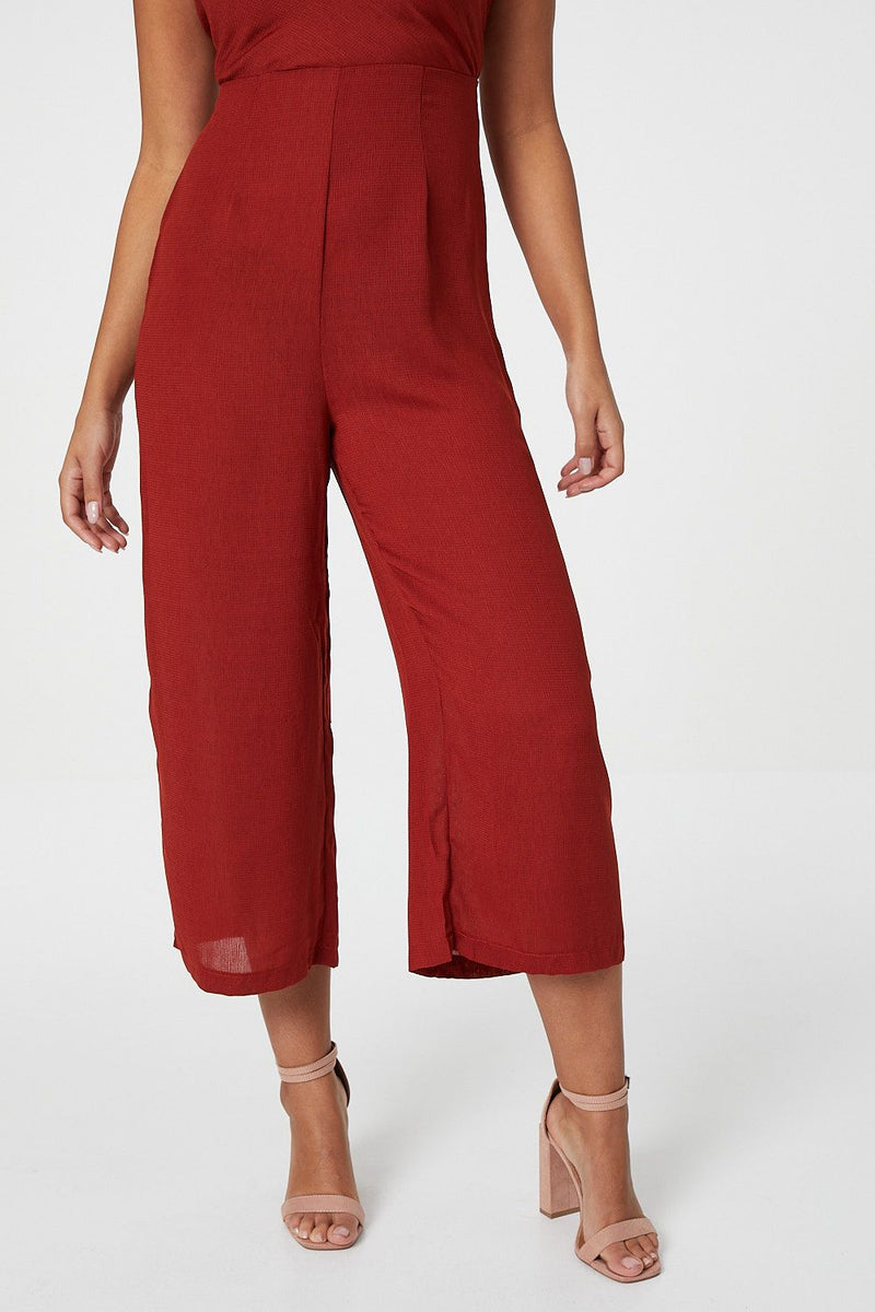 Red | Cowl Neck Strappy Jumpsuit
