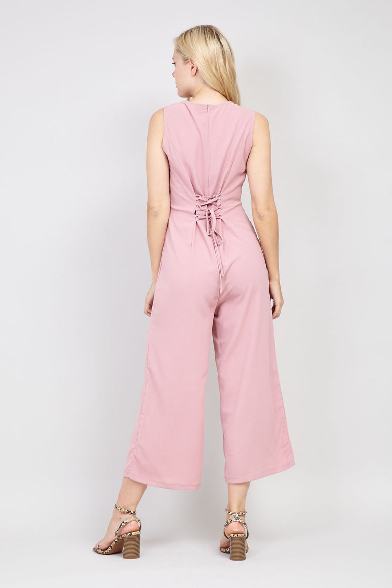 Pink | Lace Up Front Jumpsuit