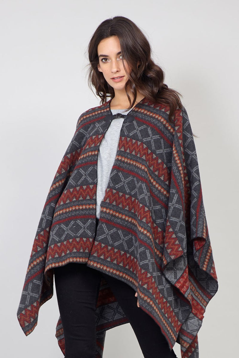 Red | Aztec Print Cape