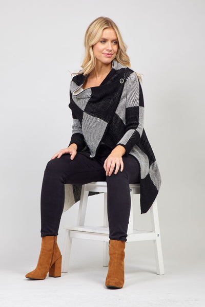 Black | Checked Split Front Cardigan