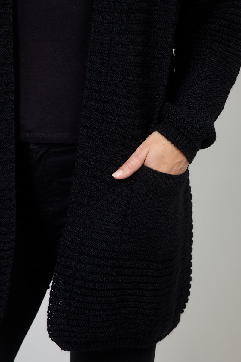 Black | Chunky Knitted Cardigan