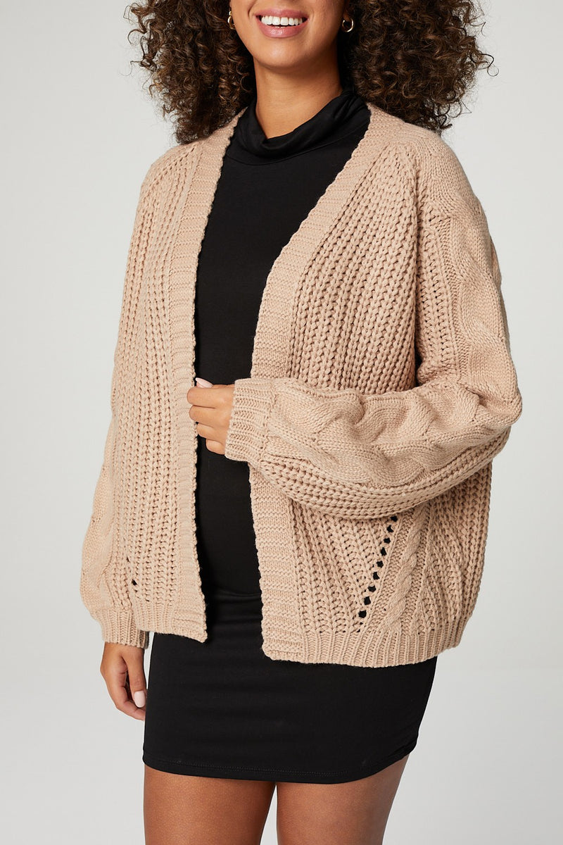 Brown | Open Front Cable Knit Oversized Cardigan