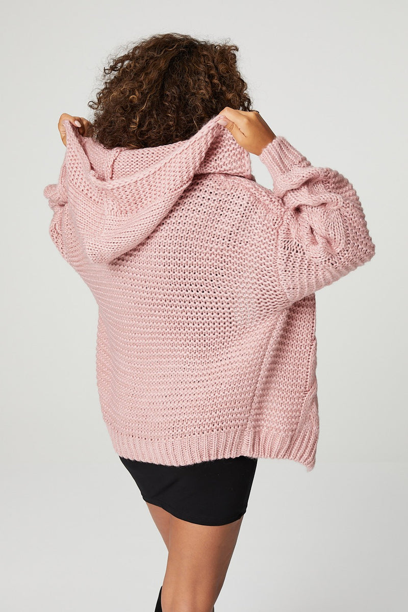 Pink | Open Front Hooded Cable Knit Cardigan