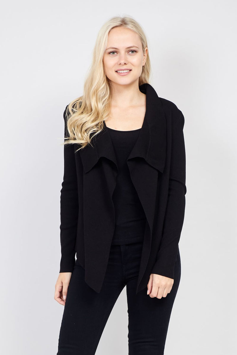 Black | Knitted Waterfall Jacket