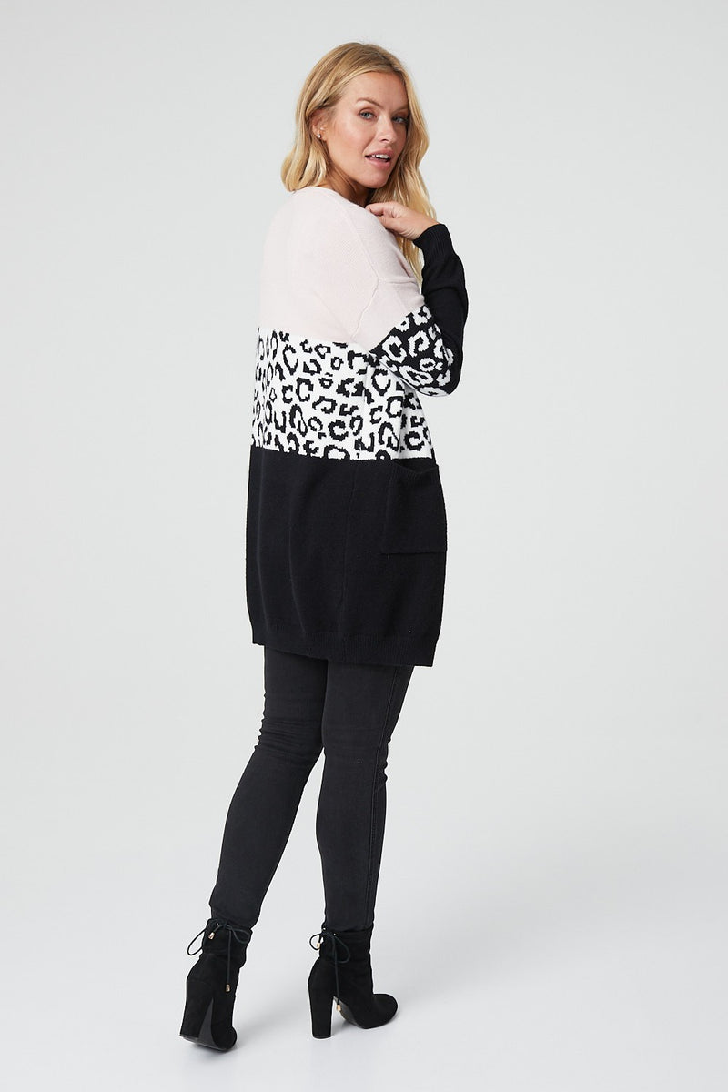 Pink | Colour Block Animal Print Cardigan