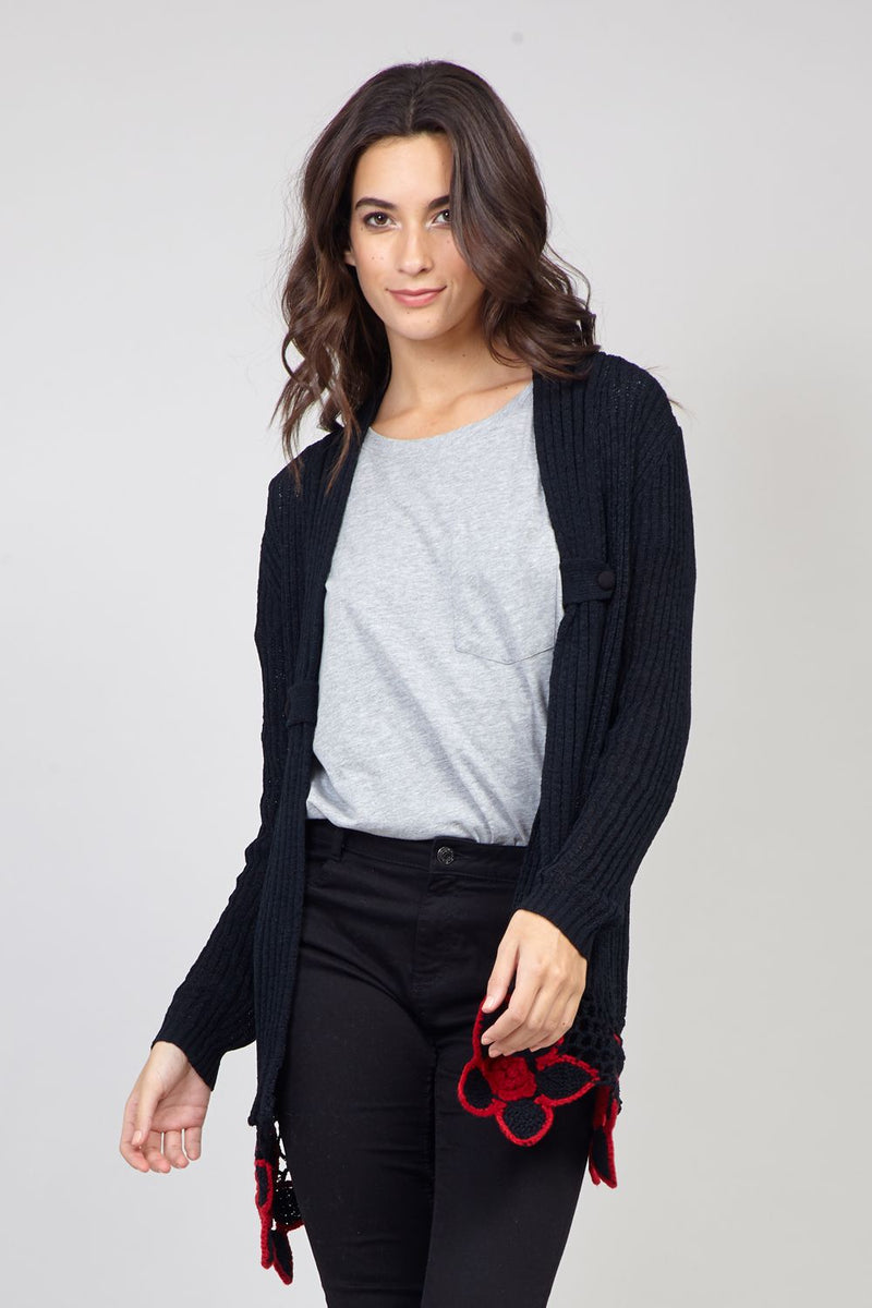 Black | Crochet Trim Cardigan