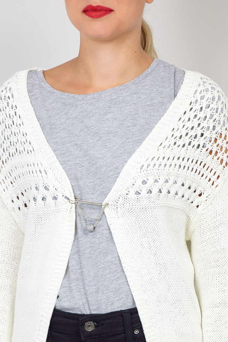 Cream | Crochet Tassel Cardigan