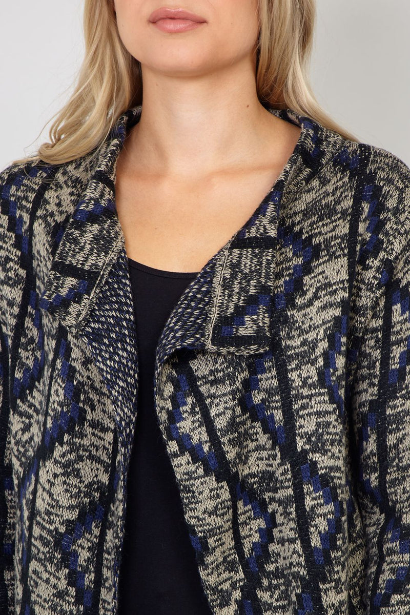 Navy | Aztec Knitted Cardigan