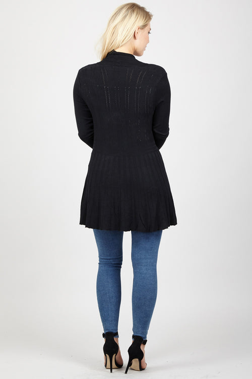 Ribbed Textured Cardigan - Izabel London
