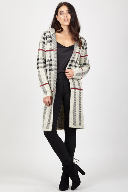 Checked Longline Cardigan - Izabel London