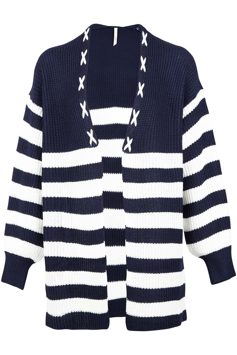 Striped Knit Cardigan - Izabel London