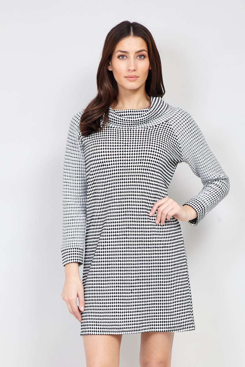 Black | Roll Neck Knit Tunic Dress