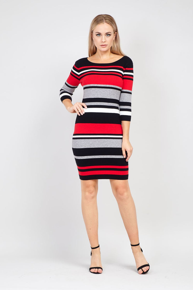 Red | Striped Knitted Dress