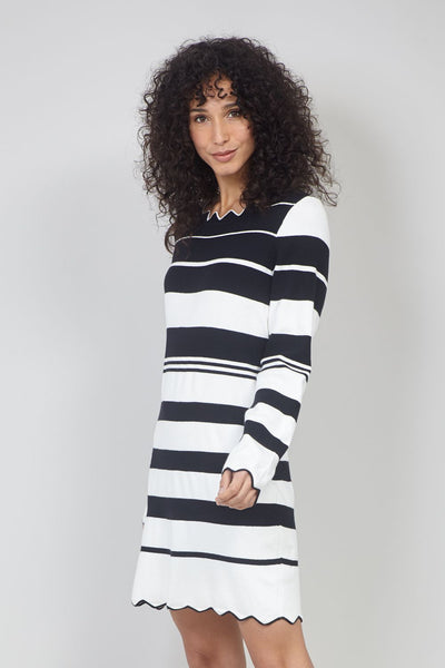 Black | Striped Zig Zag Hem Knit Dress