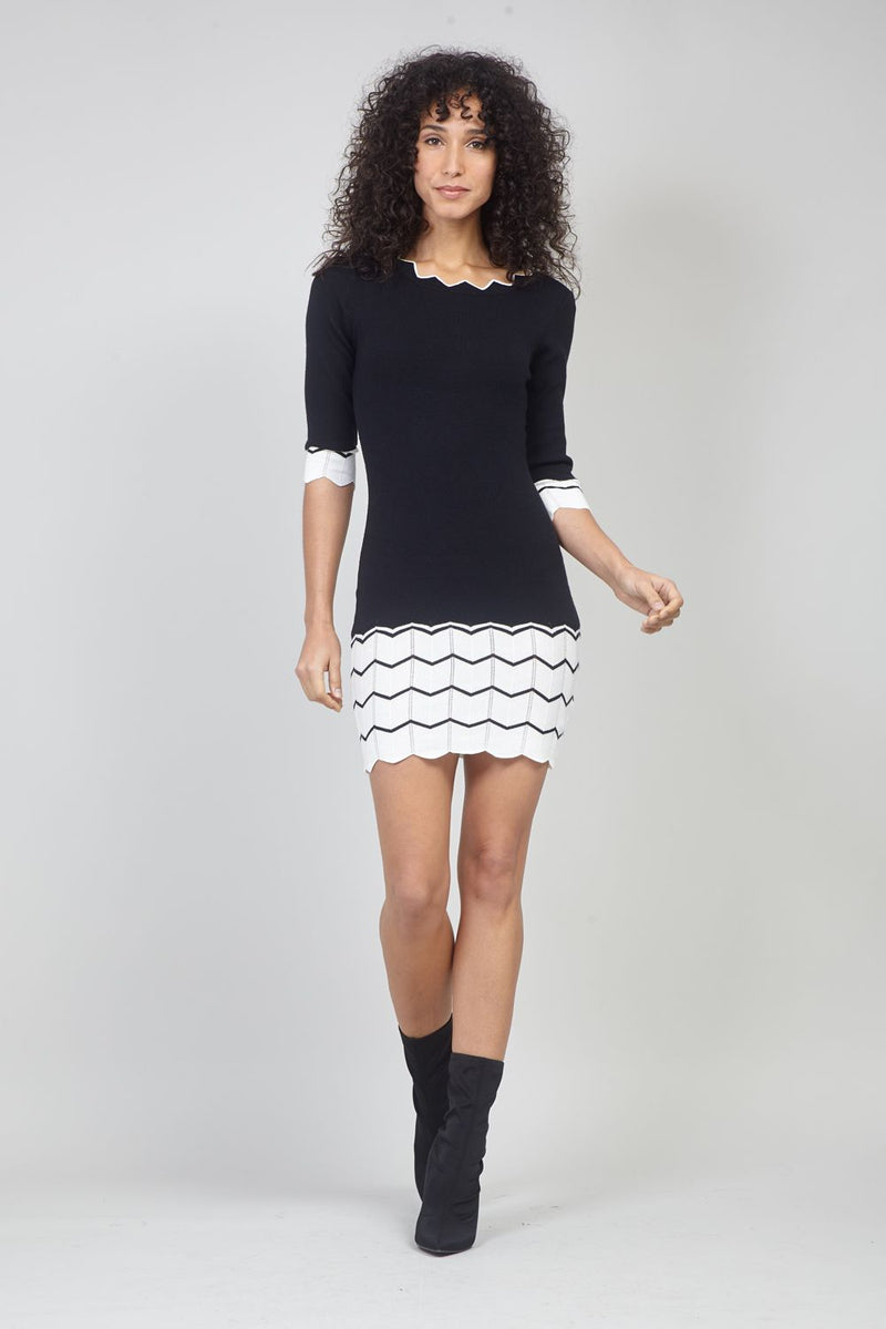 Black | Zig Zag Hem Knit Dress