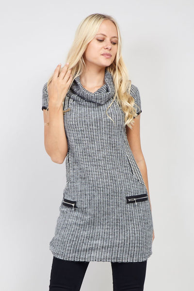Grey | Checked Knitted Dress