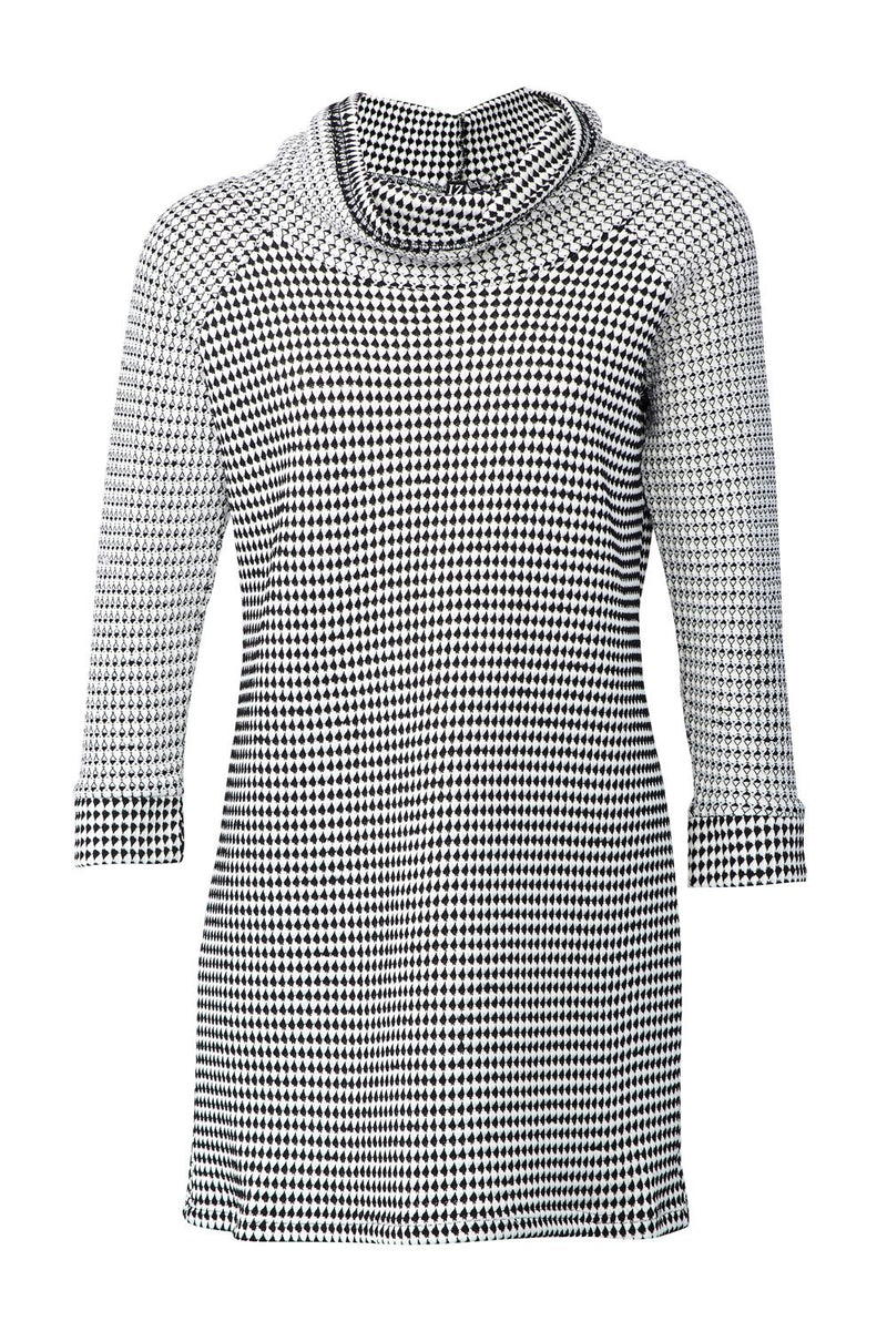 Black And White | Roll Neck Knit Tunic Dress