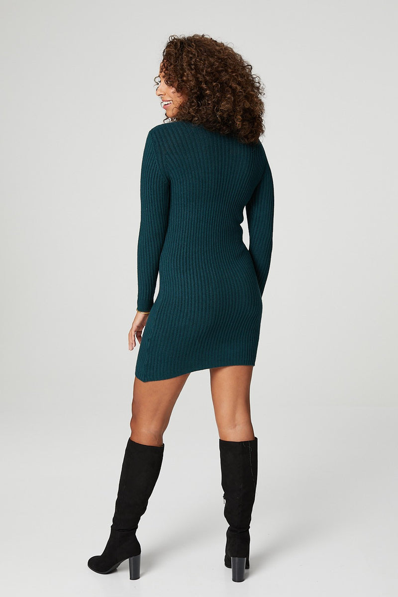 Green | High Neck Ribbed Knit Dress
