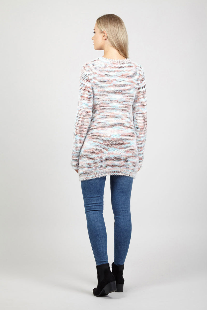 Blue | Striped Eyelash Jumper