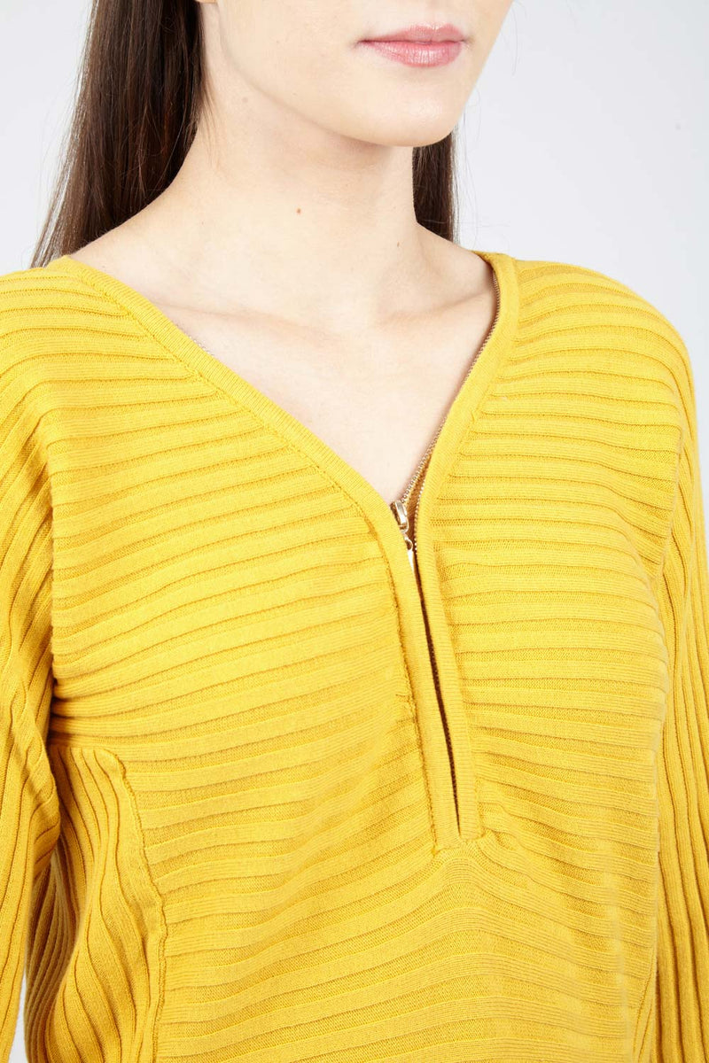Yellow | Ribbed Zip Neck Top