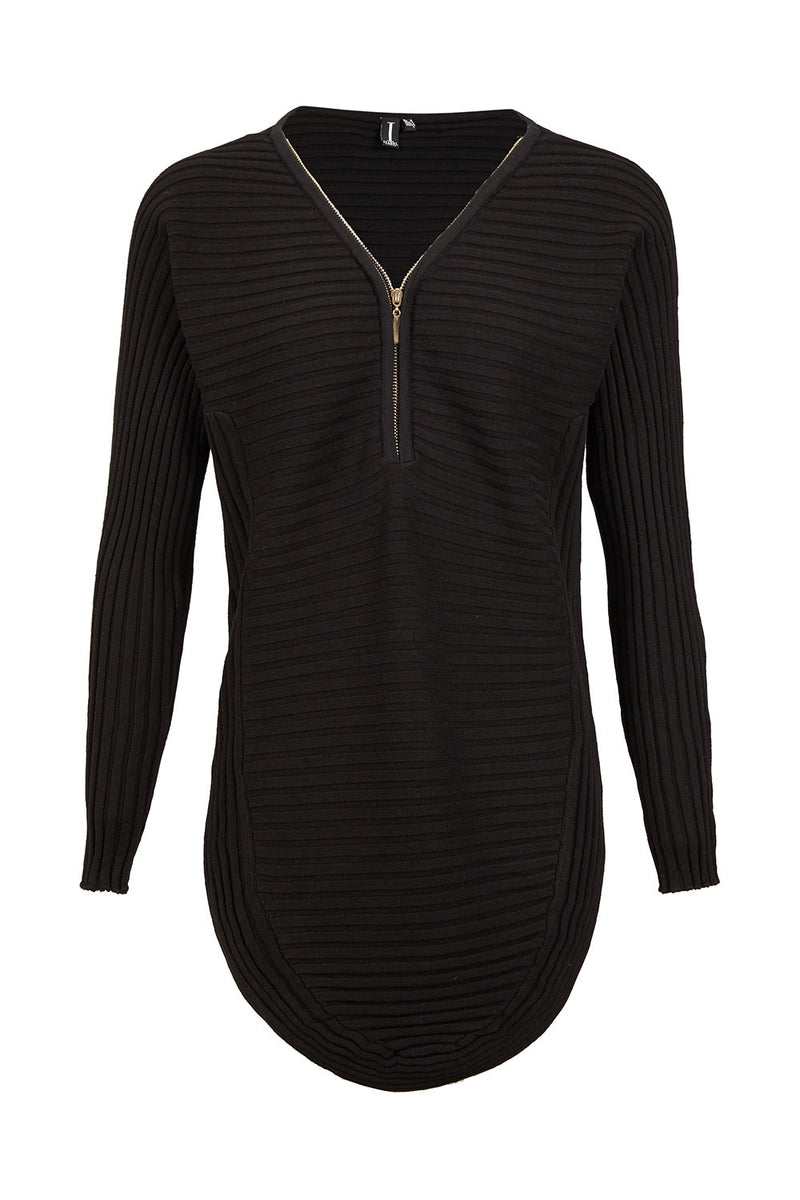 Black | Ribbed Zip Neck Top