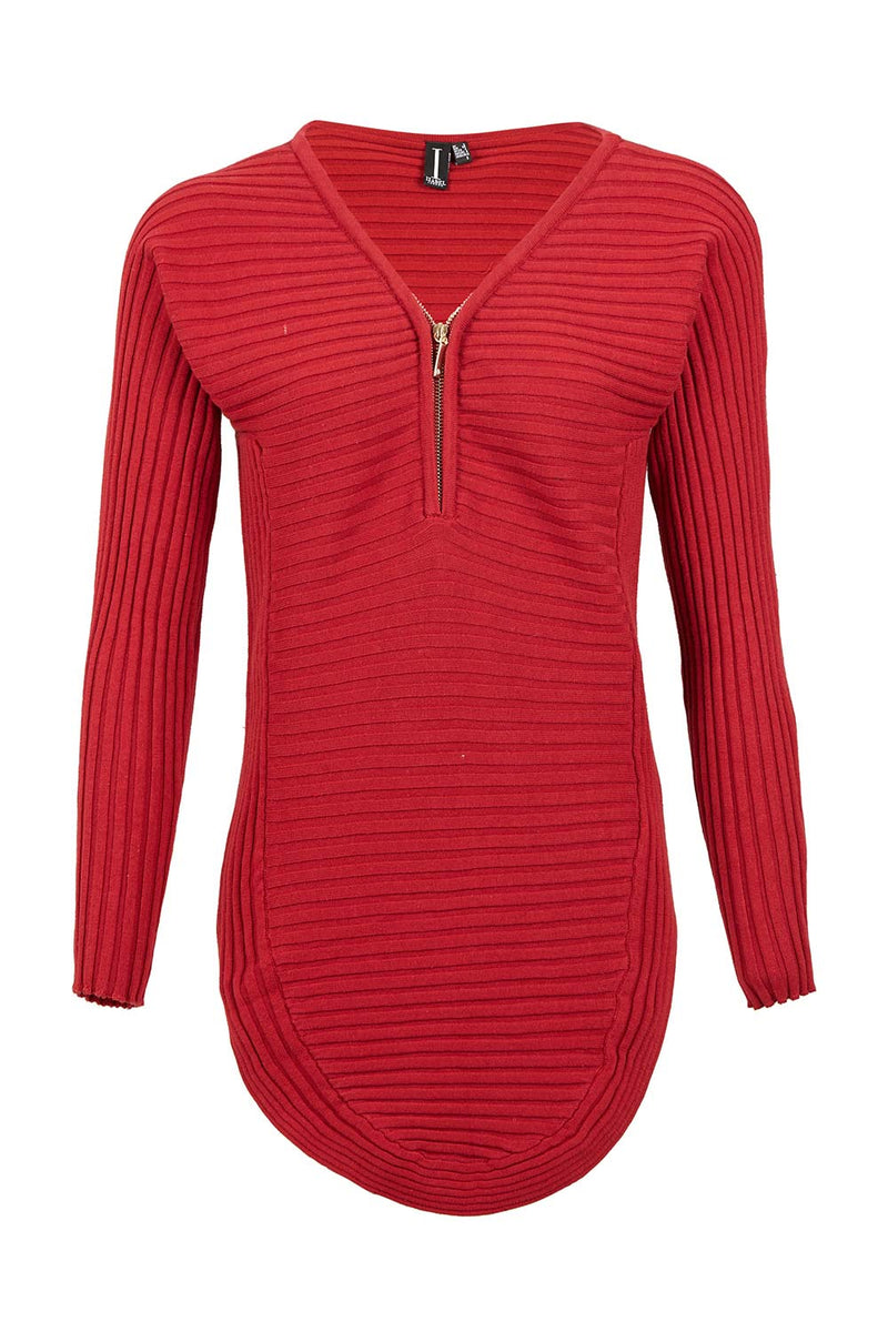 Red | Ribbed Zip Neck Top