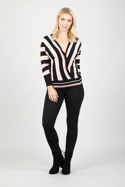 Striped Wrap Top - Izabel London