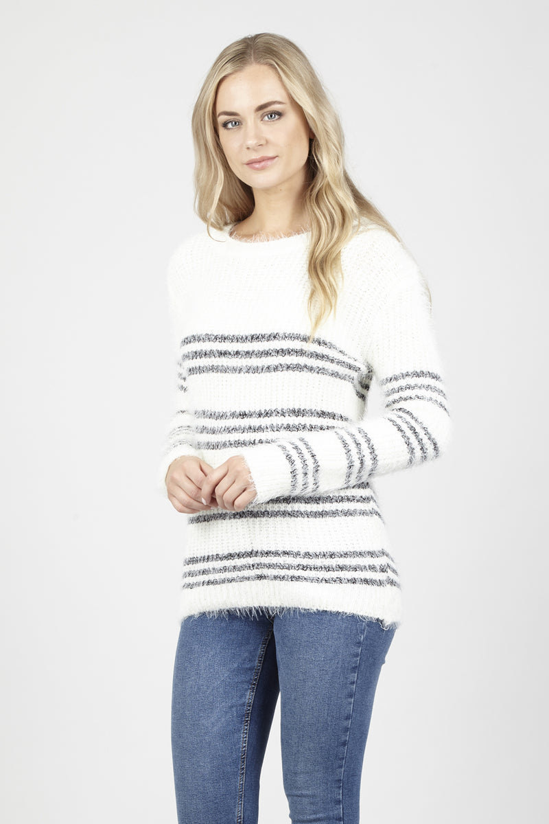Fluffy Knitted Jumper - Izabel London