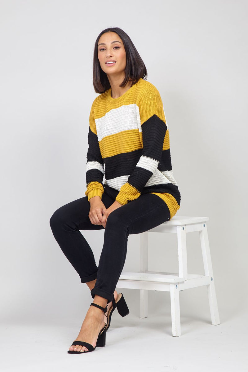 Mustard | Striped Ribbed Jumper