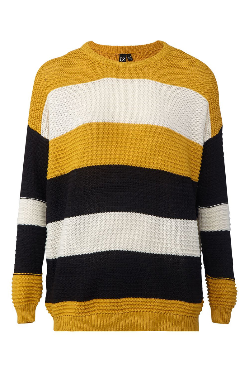 Yellow | Striped Ribbed Jumper