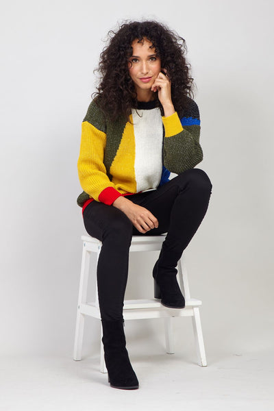Yellow | Colourblock Knitted Jumper