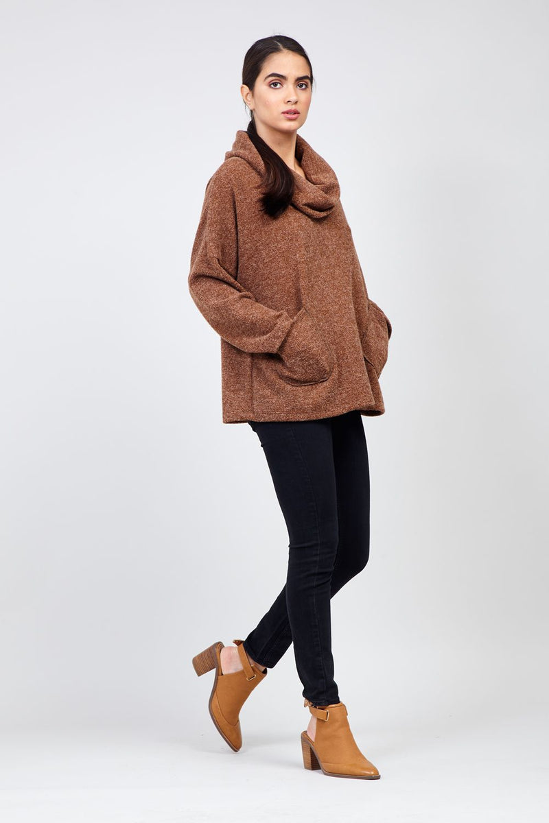 Brown | Oversized Roll Neck Knitted Jumper