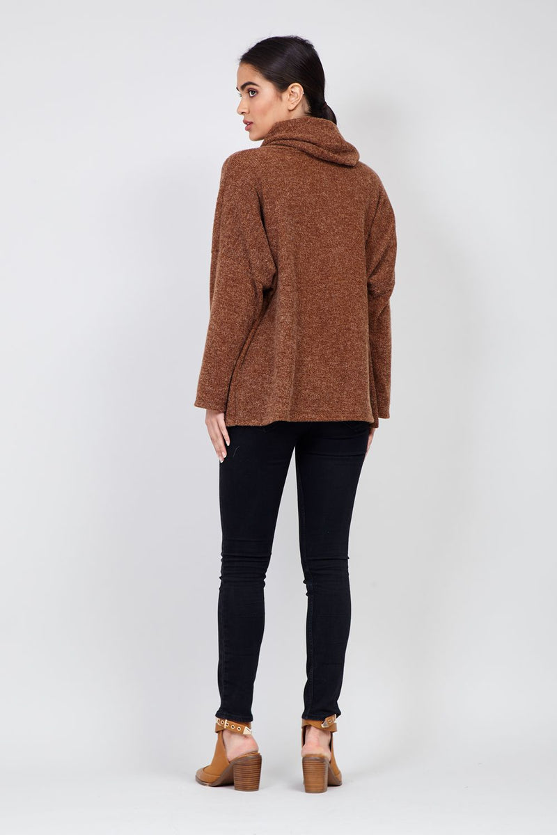 Oversized Roll Neck Knitted Jumper