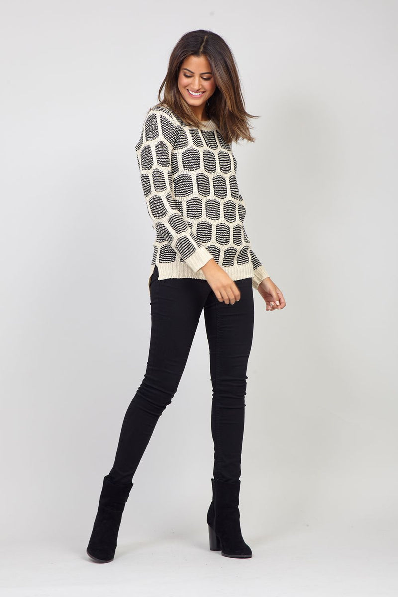 Black | Square Print Chunky Jumper