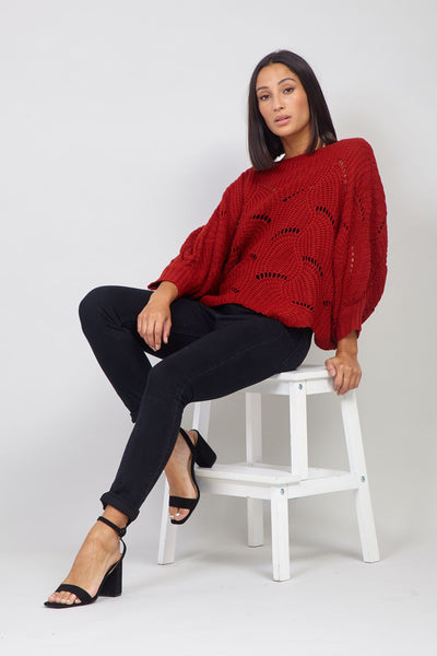 Red | Knitted Cut-Out Jumper