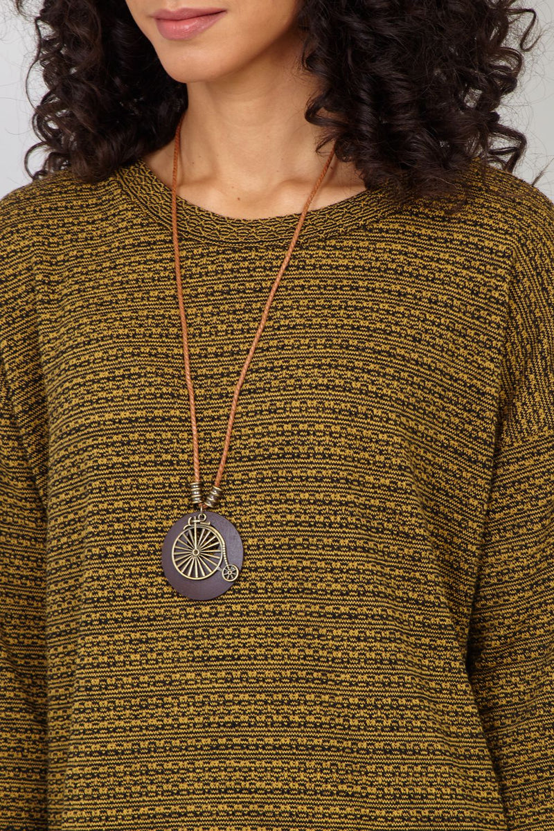 Yellow | Knitted Jumper with Necklace