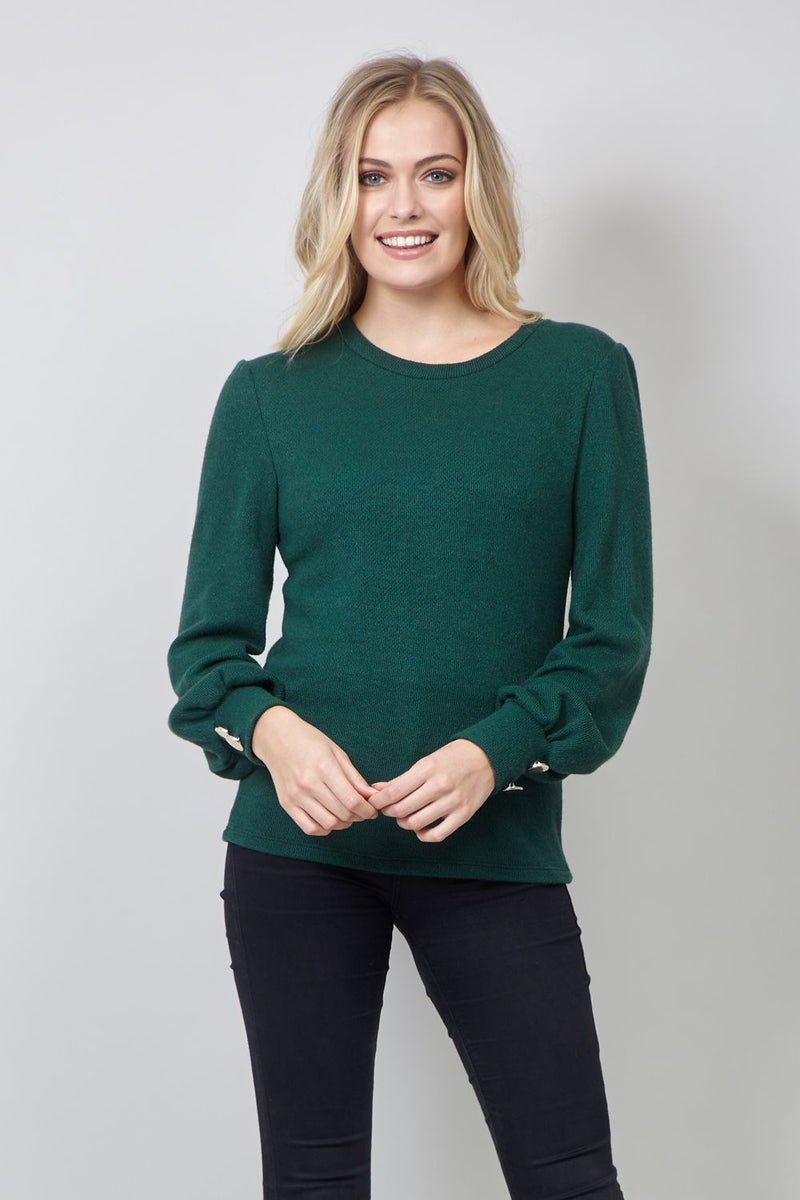 Green | Puff Sleeve Knitted Jumper