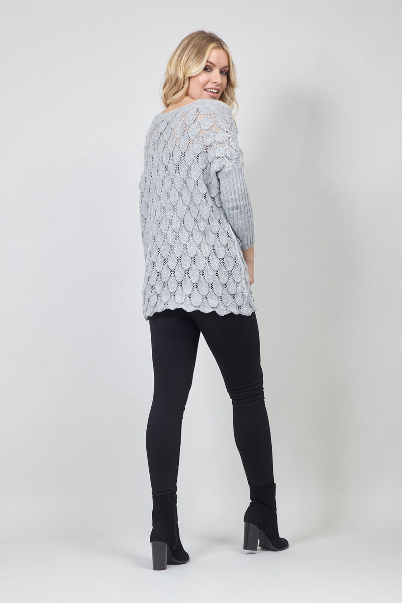 Grey | Batwing Knitted Jumper