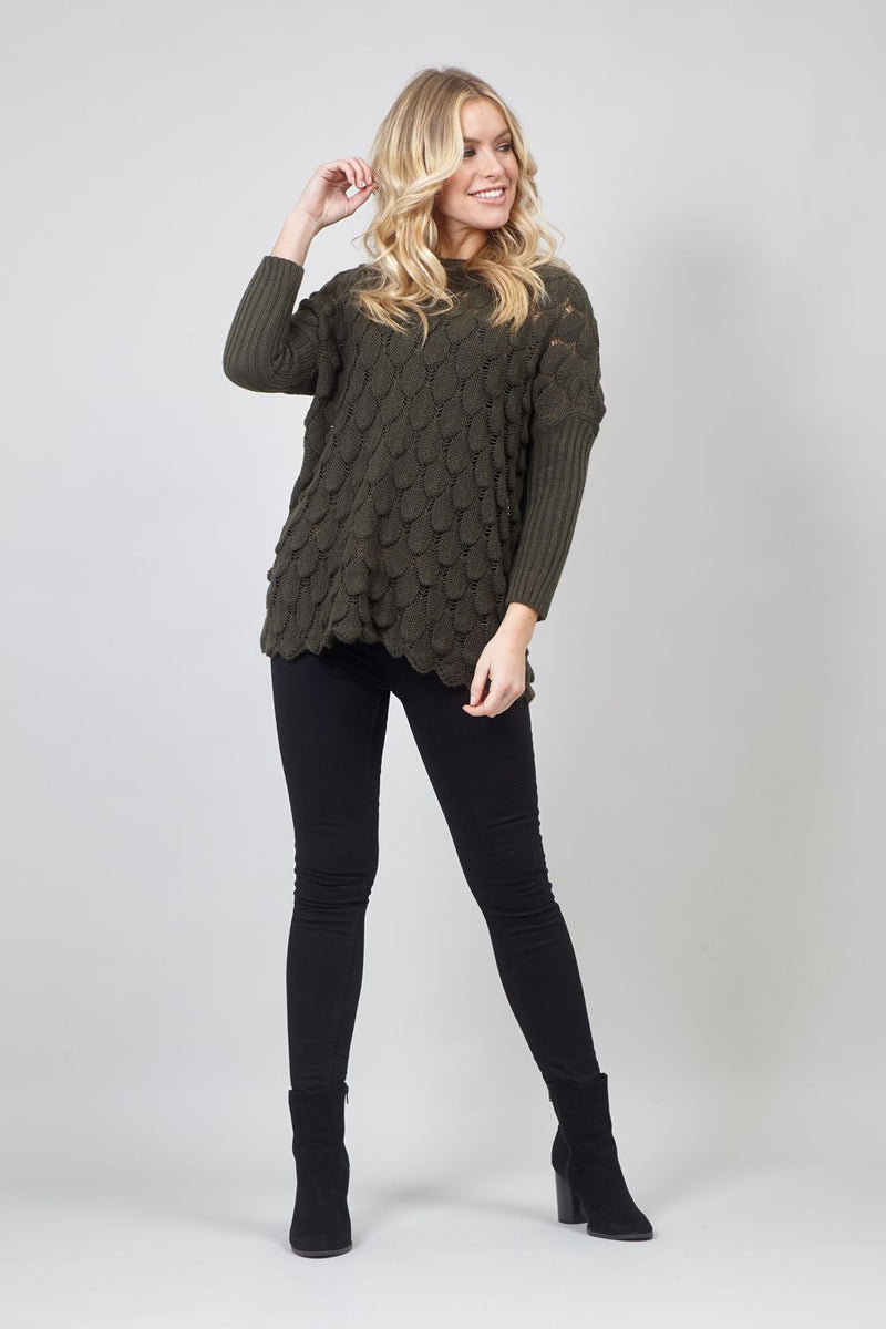 Khaki | Batwing Knitted Jumper