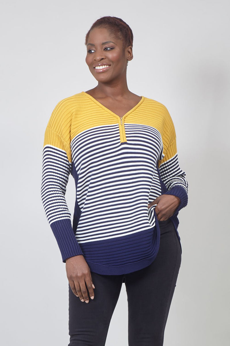 Navy | Curve Striped Zip Front Knitted Jumper