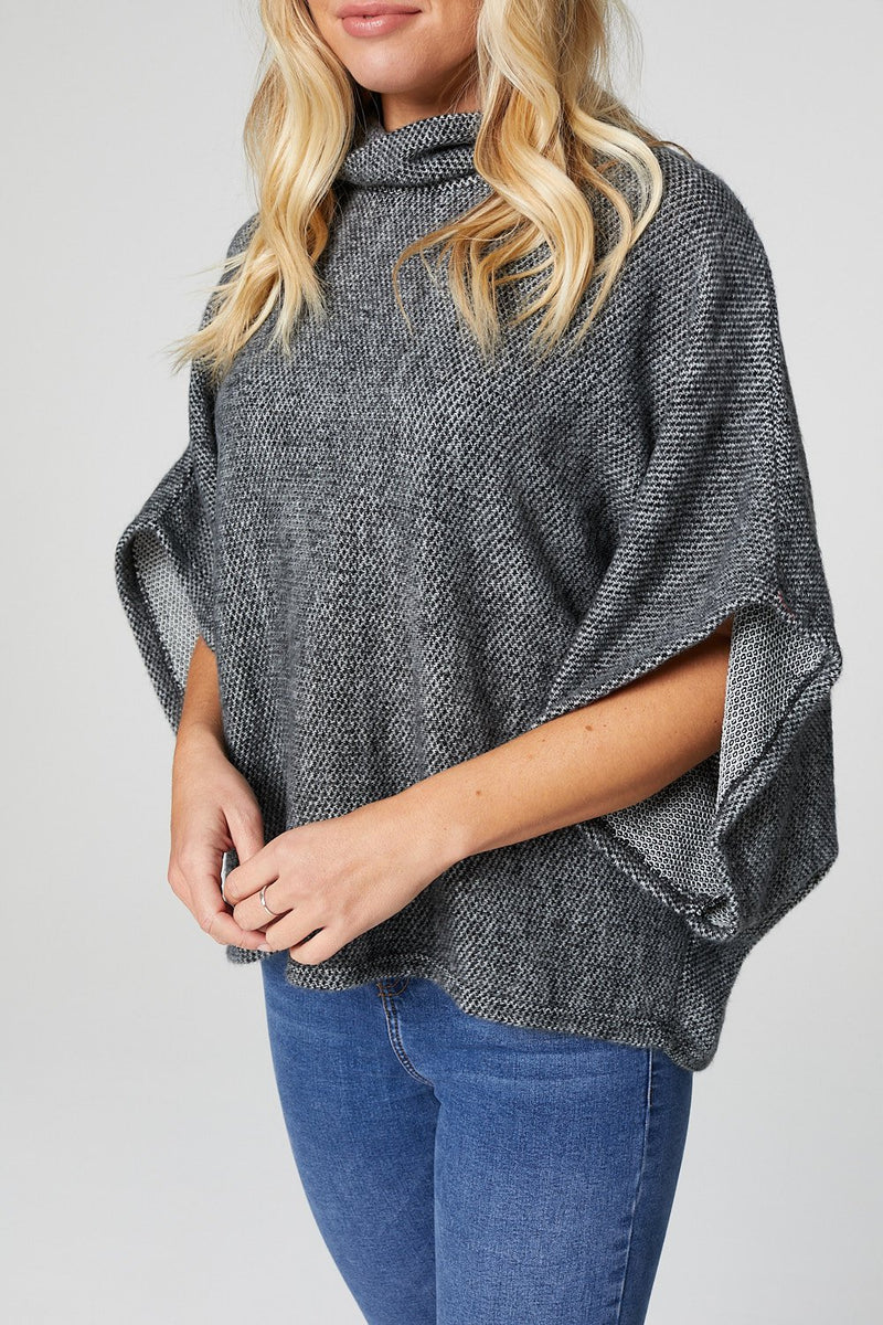 Black | 3/4 Sleeve Cowl Neck Sweater Top
