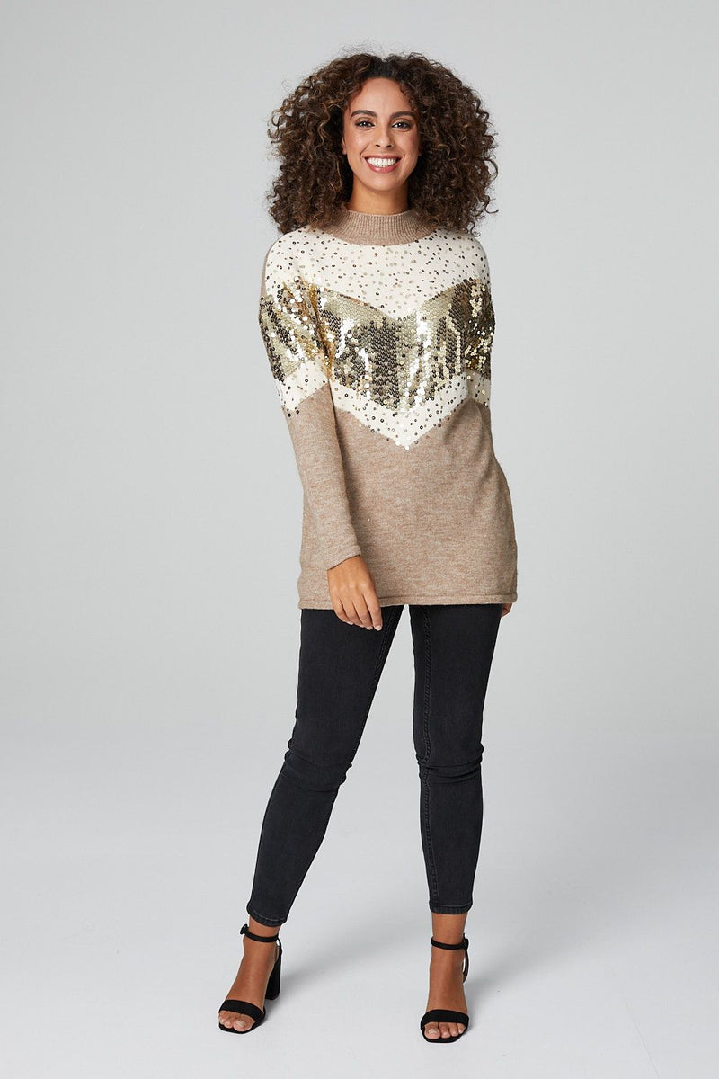 Mustard | Chevron Sequin Embellished Sweater