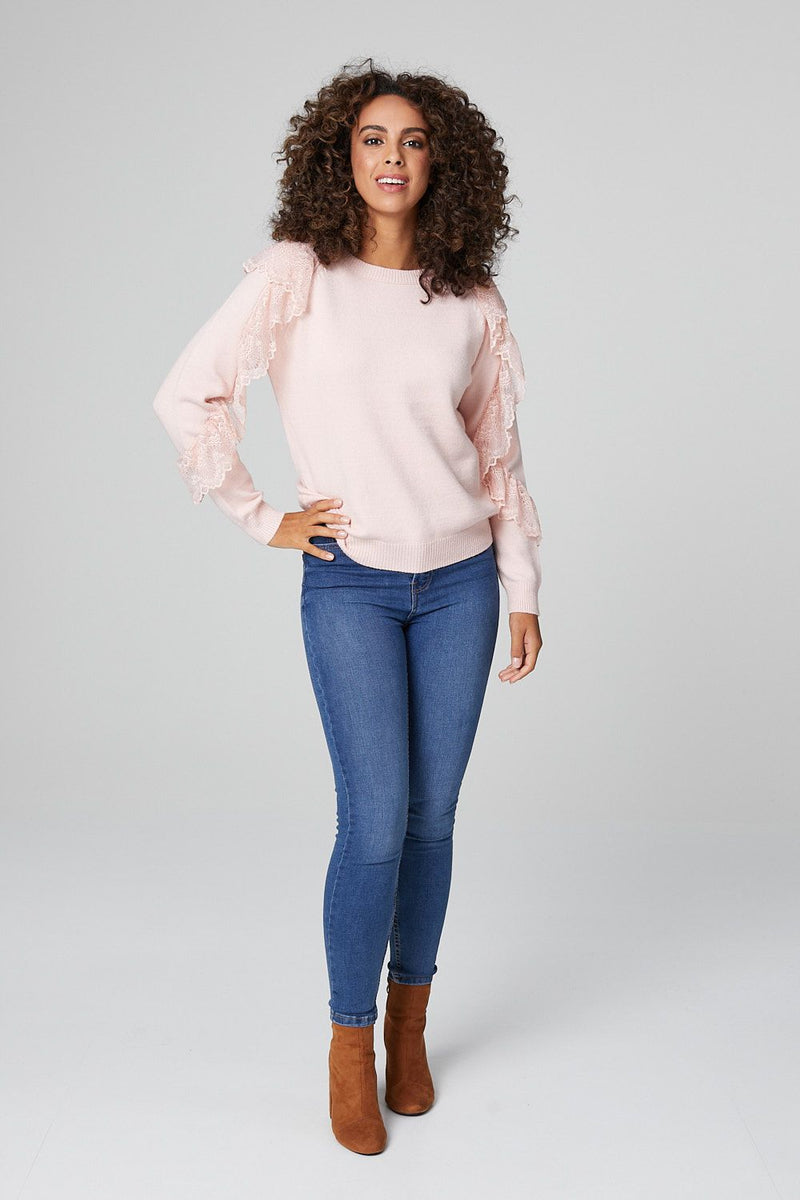 Pink | Frilled Detail Long Sleeve Sweater